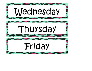 Colorful Leopard Print Days of the Week Cards