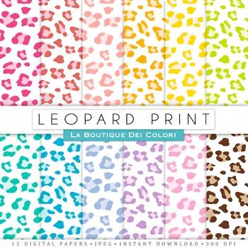Colorful Leopard Print Digital Paper, scrapbook backgrounds