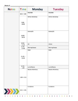 Colorful Lesson Plan Book