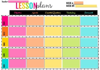 Colorful Lesson Plan Template