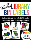 EDITABLE Colorful Library Bin Organization Labels ~ Over 60 Labels!