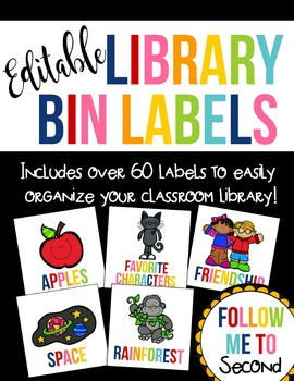 EDITABLE Colorful Library Bin Organization Labels ~ Over 6