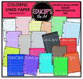 Colorful Lined Paper Clip Art Bundle {Educlips Clipart}