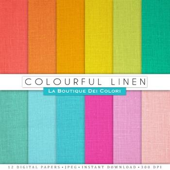 Colorful Linen Digital Paper, scrapbook backgrounds