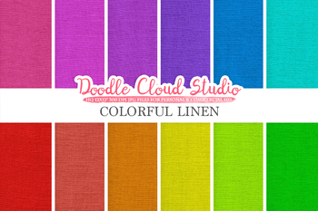 Colorful Linen Fabric digital paper pack, Colorful Backgrounds