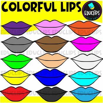 Colorful Lips Clip Art Bundle {Educlips Clipart}