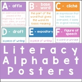 Colorful Literacy Alphabet Posters | For Upper Elementary and Middle School ELA