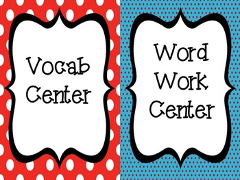 Literacy Center Signs: Colorful