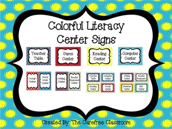 Colorful Literacy Center Signs