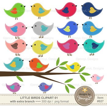 Colorful Summer Bird & Branch Cliparts