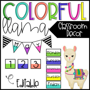 Colorful Llama Classroom Decor - EDITABLE BUNDLE
