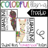 Colorful Llama Student Work Posters - FREEBIE