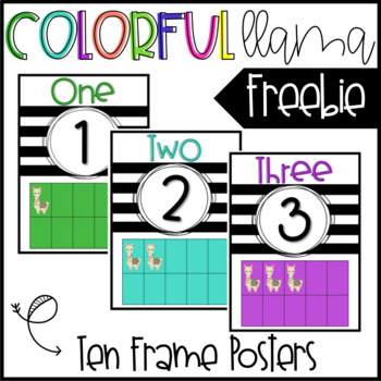 Colorful Llama Ten Frame Posters - FREEBIE