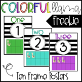 Colorful Llama Ten Frame Posters - FREEBIE