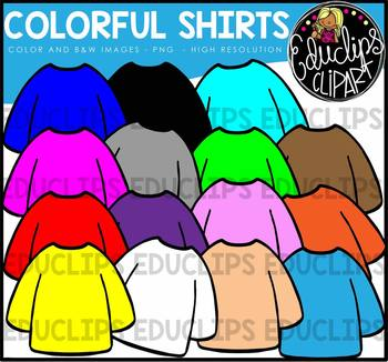 Colorful Long Sleeve Shirts Clip Art Bundle {Educlips Clipart}