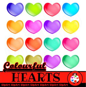 Colorful Love Hearts - Icon Clip Art