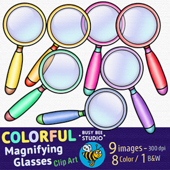 Colorful Magnifying Glasses Clip Art