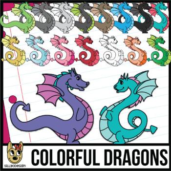 Colorful Male and Female Dragon Clip Art