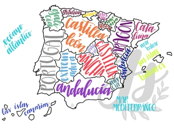 Colorful Map Set of Spanish-speaking Countries