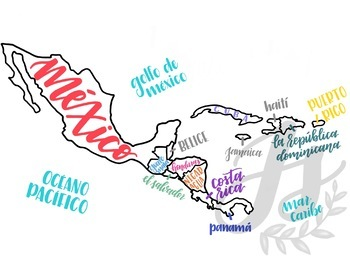 Colorful Map of Central America