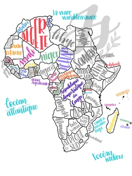 Francophone Africa Map.Colorful Map Of Francophone Africa By Profe Julia Tpt