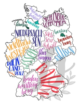 Map Of Germany And Surrounding Countries.Colorful Map Of Germany With Regions And Neighboring Countries