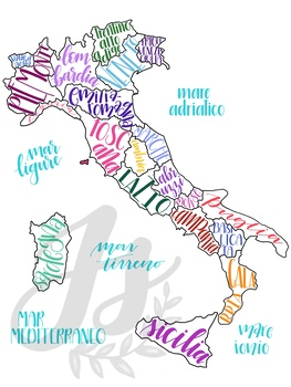 Labeled Map Of Italy.Colorful Map Of Italy With Regions