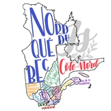 Colorful Map of Quebec with Regions (and neighboring areas!)