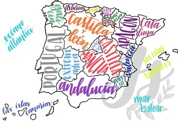 Colorful Map of Spain with Regions