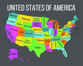 Colorful Map of the United States - Rainbow Colors