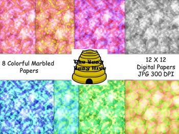 Colorful Marbled Digital Papers {8 backgrounds for personal & commercial use}