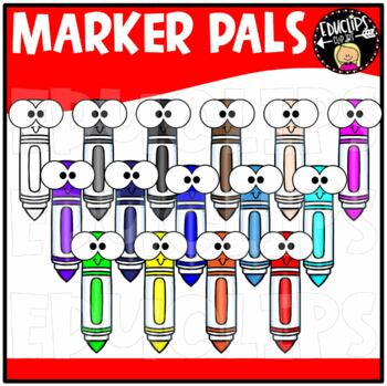 Colorful Marker Pals Clip Art Bundle {Educlips Clipart}