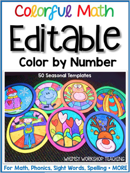 Editable Color By Number Full Year Set 50 Seasonal