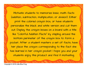 Colorful Math Facts--motivating kids to learn facts
