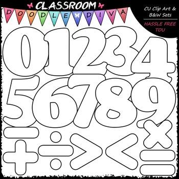 Colorful Math Numbers & Symbols Clip Art - Math Clip Art
