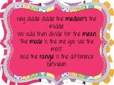 Colorful Mean, Median, Mode, Range Poster