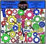 Colorful Mechanical Part Clip Art Bundle {Educlips Clipart}