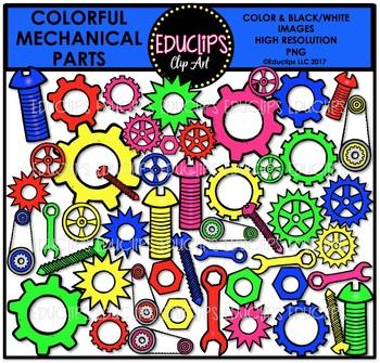 Colorful Mechanical Part Clip Art Bundle {Educlips Clipart}