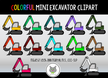 Colorful Mini Excavator Clipart