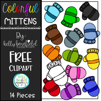 Colorful Mittens Free Clipart by Kelly B
