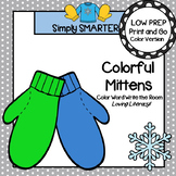 Colorful Mittens:  LOW PREP Color Word Write the Room