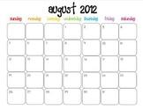 Colorful Modern Calendar for August 2012-June 2013 PDF
