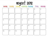 Colorful Modern Calendar for August 2012--Publisher Doc