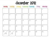 Colorful Modern Calendar for December 2012--Publisher Doc