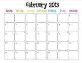 Colorful Modern Calendar for February 2013--Publisher Doc