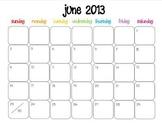Colorful Modern Calendar for June 2013--Publisher Doc
