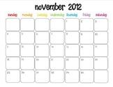 Colorful Modern Calendar for November 2012--Publisher Doc