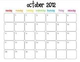 Colorful Modern Calendar for October 2012--Publisher Doc