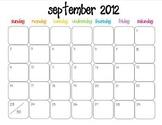 Colorful Modern Calendar for September 2012--Publisher Doc