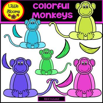 Colorful Monkeys Clip Art (FREEBIE!)